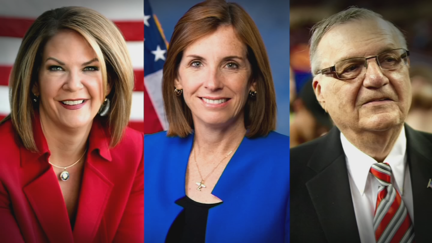 Rep. Martha McSally, former state Sen. Kelli Ward and former Maricopa County Sheriff Joe Arpaio are vying for the Republican nomination to fill the seat of retiring Sen. Jeff Flake. (Source: 3TV/CBS 5)