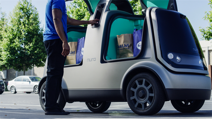 Fry's groceries can be delivered to your door by Nuro's driverless vehicles. (Source: Kroger/Nuro)