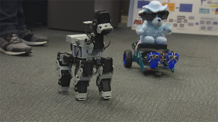 The ASU team assembled a prototype of a robot, which is programmed to recognize dangers and act as an assistant for blind people. (Source: 3TV/CBS 5)
