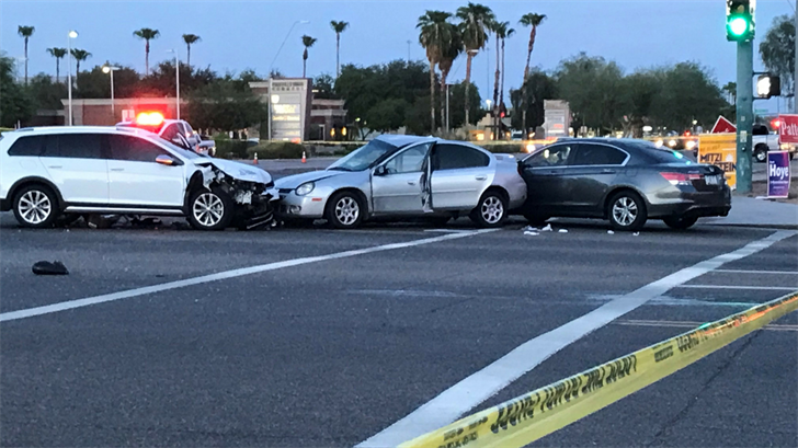A woman was taken to the hospital after a crash in Ahwatukee. (Source: 3TV/CBS 5)